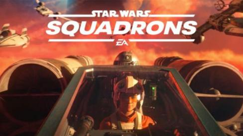 Star Wars Squadrons logo with X-Wing pilot