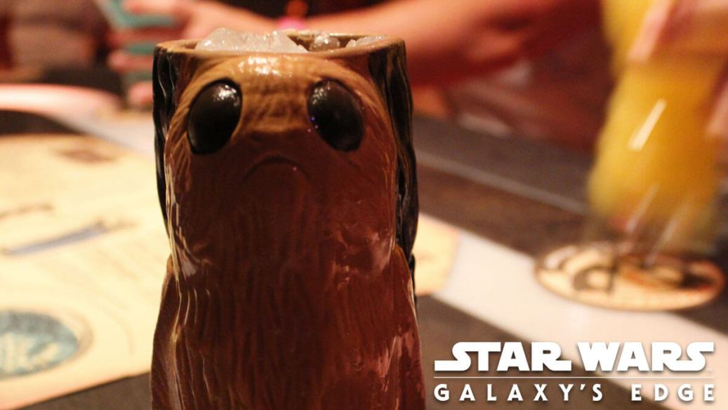 A porg mug sitting on the table at Oga's Cantina