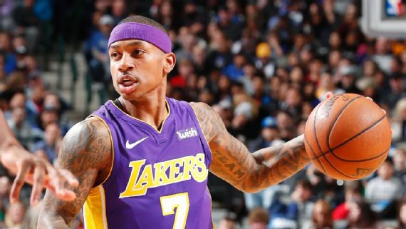 Denver Nuggets point guard Isaiah Thomas with the Lakers. Thomas is attempting a comeback from a hip injury.