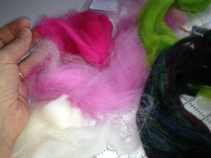 Samples of dyed roving.