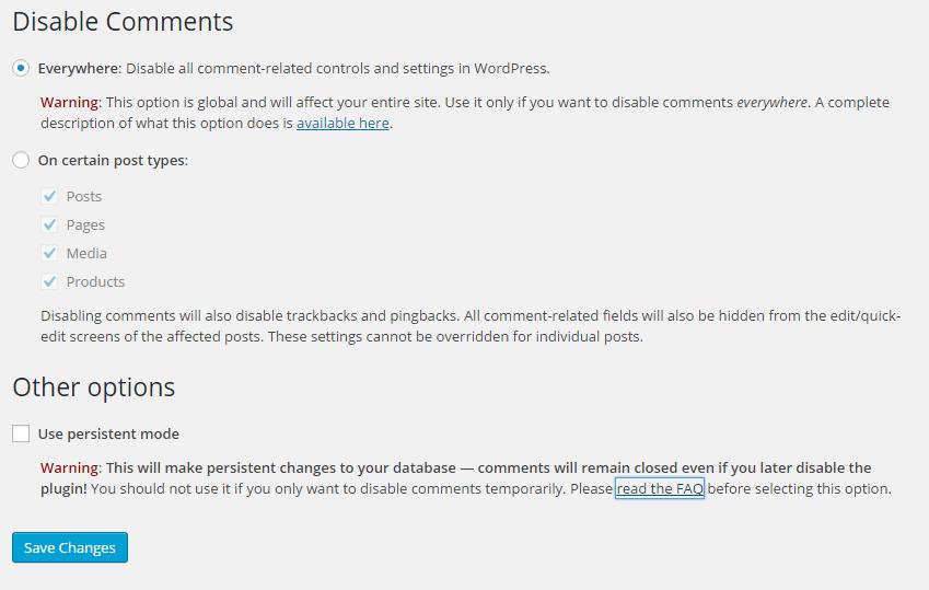 Disable Comments - options