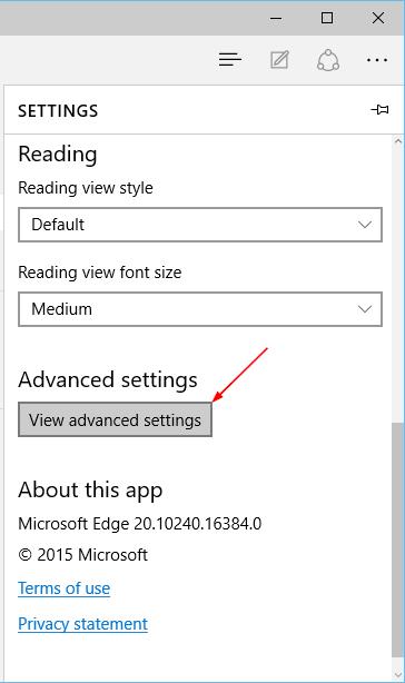 Edge - Settings - View advanced settings