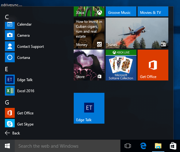 Start Menu with new tile pinned