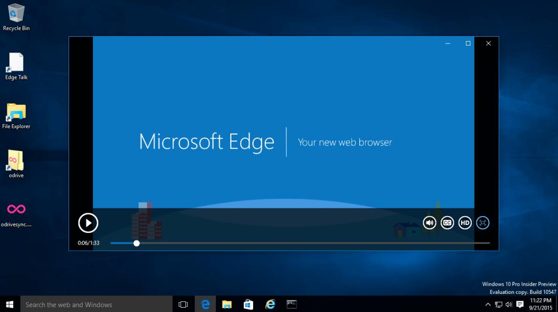 Edge - playing video in full screen mode