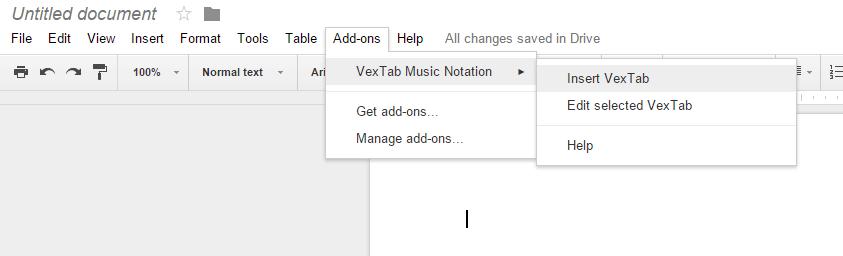 Google Docs - insert VexTab