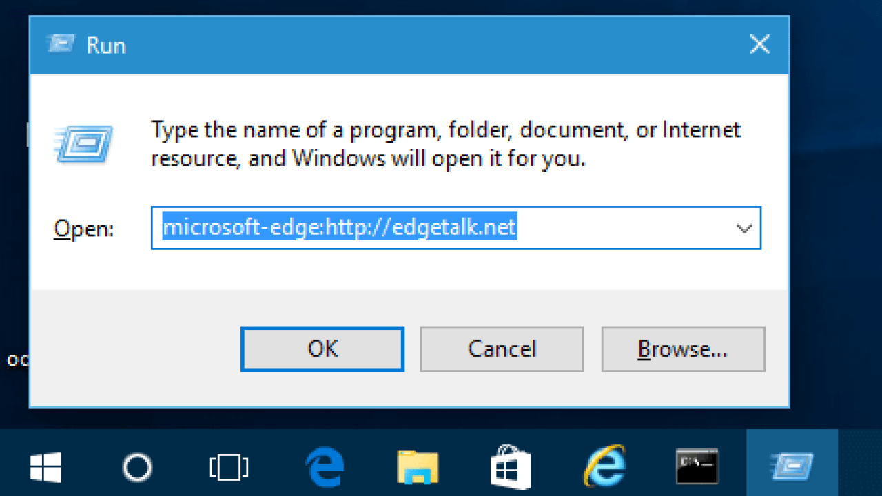 How To Launch Microsoft Edge from Run or Command Prompt