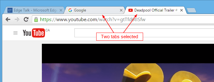Chrome - 2 tabs selected