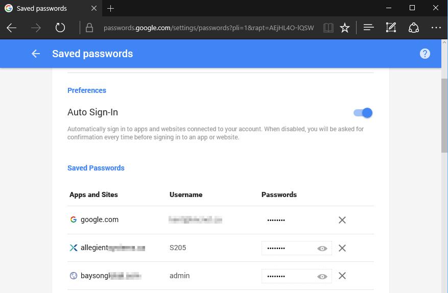 Saved Google passwords opened in Edge