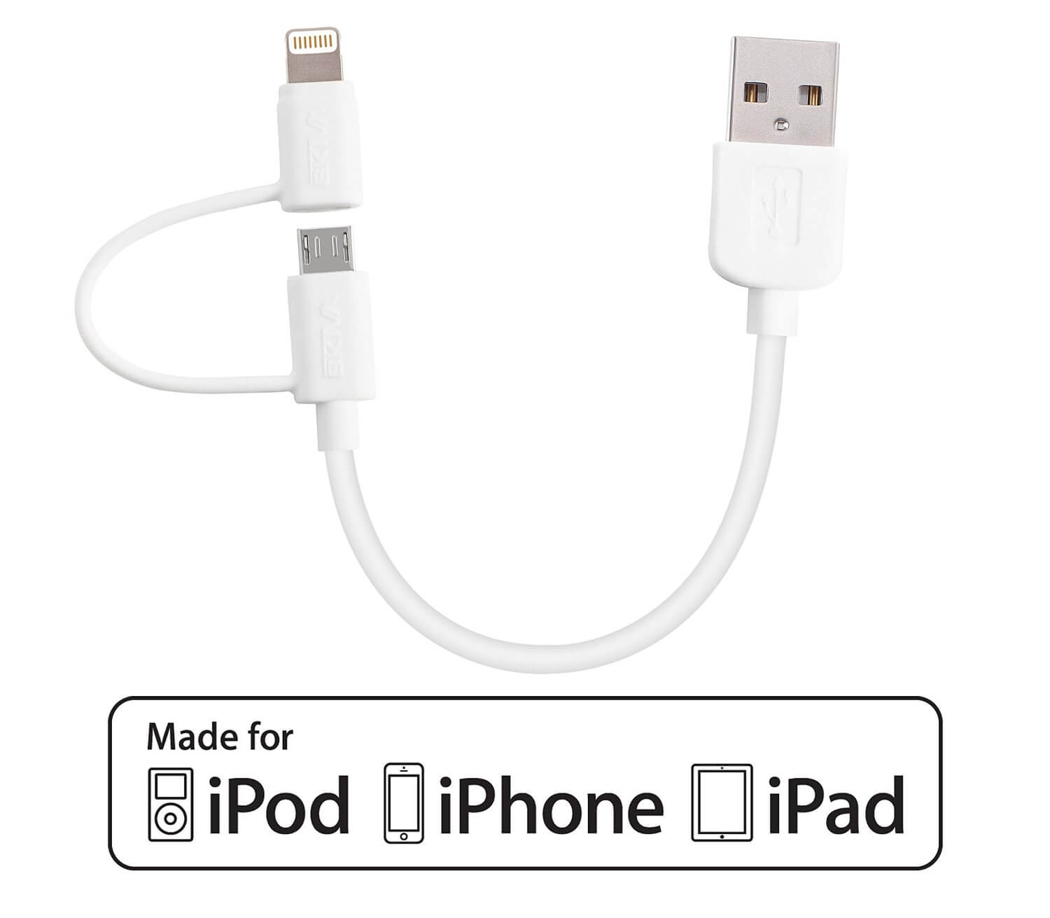 The 2 In 1 Cable For Both Micro Usb And Lightning Without An Adapter