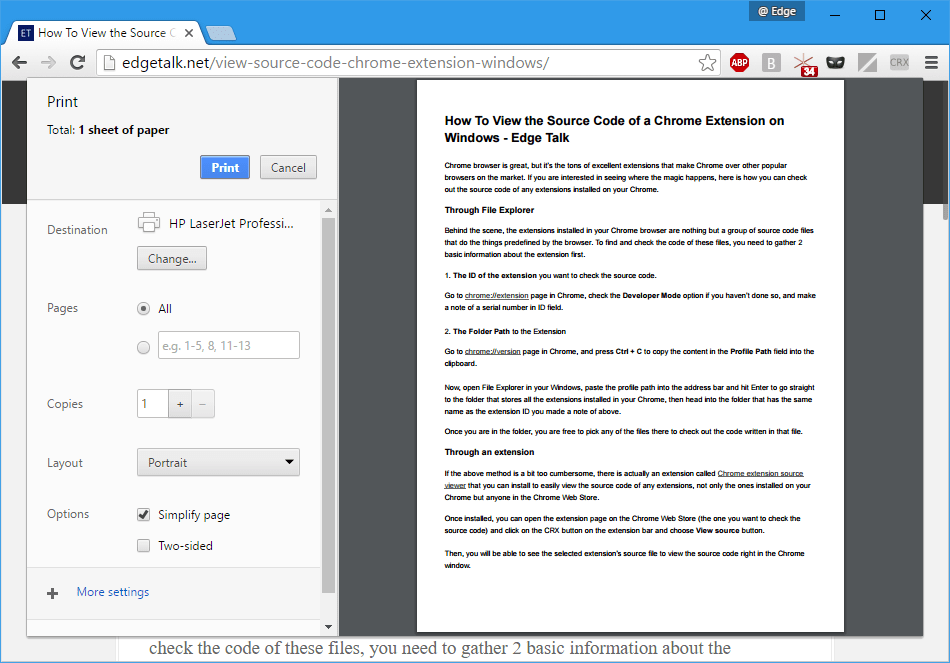 Chrome - print with Simplify page option checked