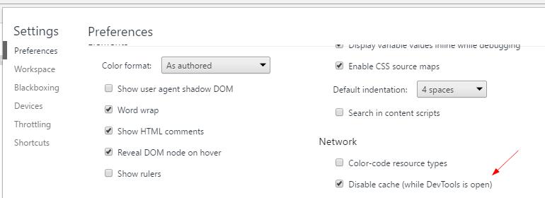 chrome extensions disable cache