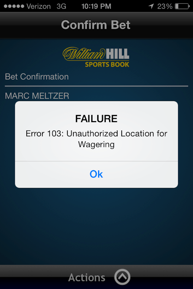 William Hill Mobile Sports Betting App Fail