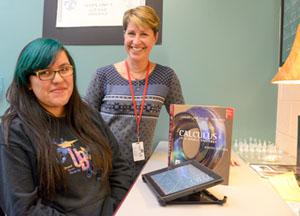 Jefferson High School counselor Molly Harrington and junior AP calculus student Elvira Miranda.