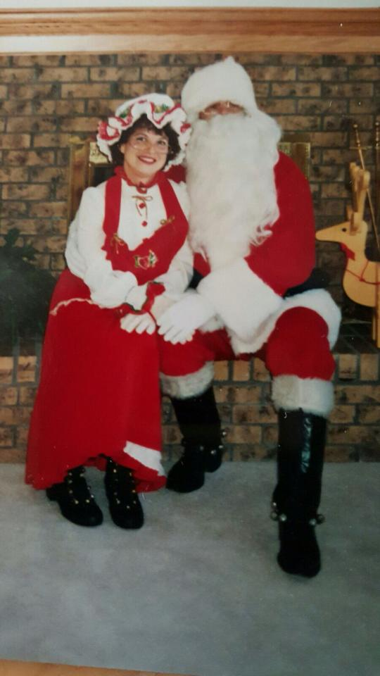 My dad, Bill Baker was Santa for several years in the 80's but teamed up with my Stepmom Barbara in 1993 to bring Mrs. Klaus along for the fun. From Maggie Hunt