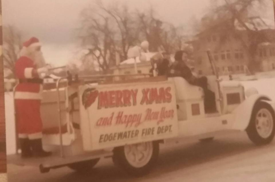 Santa, Al Hogan, on the Old Truck .. approx. 1974 /75. From Caryn Wittig Thomas.