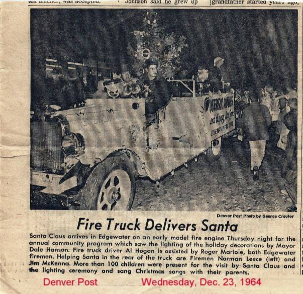 This is my husband, Al Hogan driving Santa to the holiday lighting ceremony in Edgewater in 1964. A few years later he became one of the Edgewater Santas. From Judy Hogan