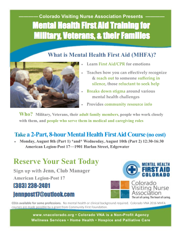 Mental Health First Aid Training At American Legion Edgewater Echo