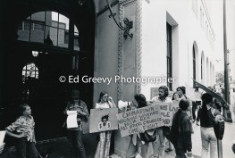 Anti eviction supporters protest at Hawaiian Electric headquarters to resistHe`eia Kea evictions. 2979-12A 4-20-76_