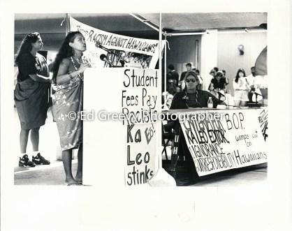 Haunani-Kay Trask speaking on UH campus on racism