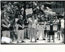Ikaika Hussey leads protest demo at Federal Building during Not In Our Name anti war protest. 9133-2-29 C2003