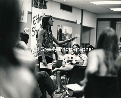 Lilikala Kame`eleihiwa addresses Ethnic Studies students at Kaimuki Library meeting. 2580-11 1972?
