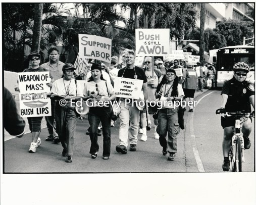 Union workers march to Waikiki in Not In Our Name anti war protest. 9123-2-12 2005
