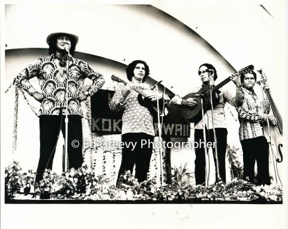 Geroge Helm (second from right) performs for a Kokua Hawaii fundraiser at the Waikiki Shell. 2668-4-31 1973