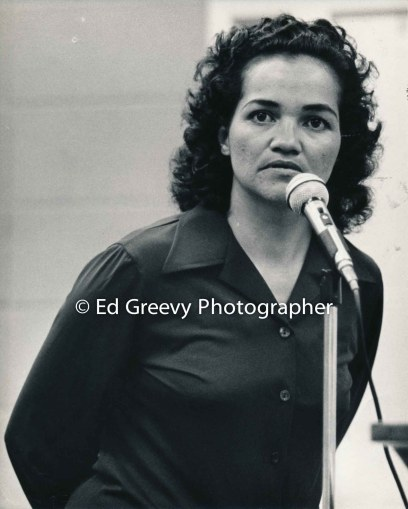 Maxine Kahaulelio, a veteran Hawaiian nationalist and welfare rights testifies at a state hearing. 1976