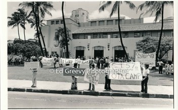 Ota Ca,mp and its supporters protest the City for its roll in the threatened evictions. 2664-3-14A 7-3-73