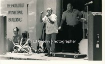 Ots Camp resident protests at CityHall evictions in Ota Camp. C1975