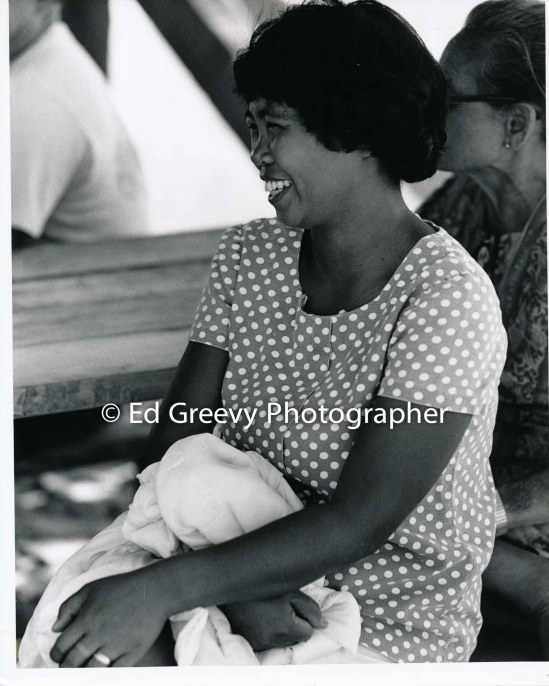 Editha Romo, Mokauea Island resident with friend Inchan Canencia on Mokauea Island. C1979