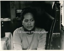 Ethel Kilaulani at hwer Mokauea Island home. 4033-11-16A 2-13-79