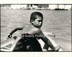 Jerry Puu, Jr., Mokauea Island trip to Sand Island. 5014-5-19A 9-28-80