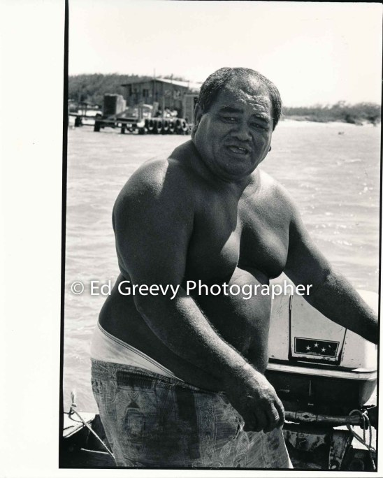 Mokauea Island fisherman, Jerry Puu, heads from Mokauea to Sand Island. 5014-5-2 8-28-80