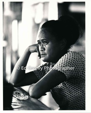 Mokauea Island resident Ethel Kilaulani at her Mokauea home. 4053-2-6 4-20-79