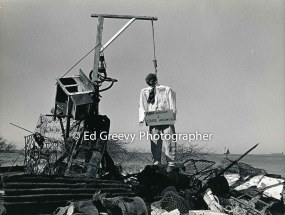 Mokauea Island residents hung State Dept. of Transportation head, E. Alvey Wright, in effigy on the Island. 1979 _