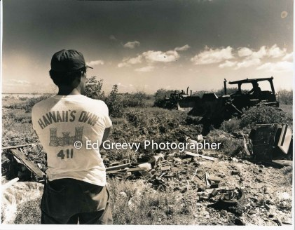 Watching the dozer dig a new Mokauea Island fishpond. 1979