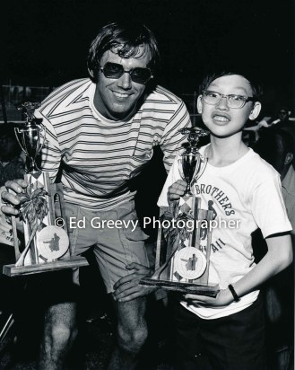 Big Brother and Little Brother with road rally trophies. 2554 1972