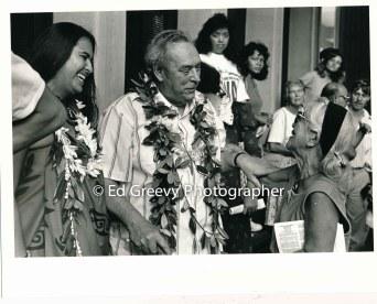 Hawaiian actvist Lilikala Kame`elehiwa, John Dominis Holt and Set Okubu at support protest for Haunani-Kay Trask. 7019-6-26A 11-2-90