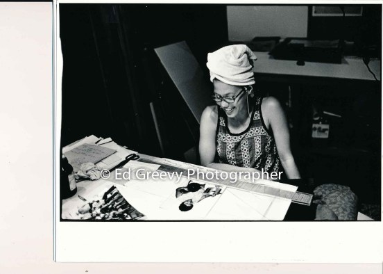Kathleen Kelly disigning a booklet about Stephen Kekaulike.2843 -3 C1975