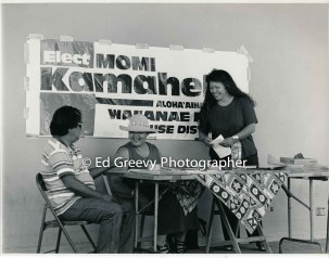 Momi Kamahele, at rt., campaigning for State House. 9047 7-8-00