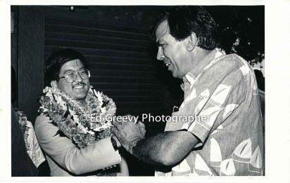 Roland Kotani, left, with supporter. 6088 4-88
