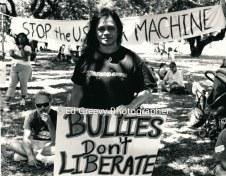 Terri Keko`olani at NION anti war protest. 9116 3-15-03