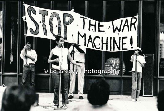 Terri Keko`olani speaks at anri war demo. 2629-35 1-19-73
