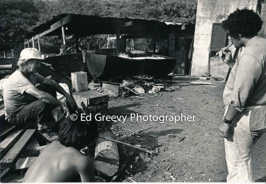 Kalama Valley pig farmer George Santos and John Saxton at the valley 2343-14- 5-71