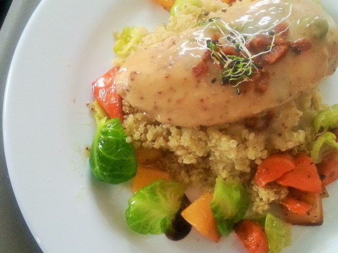 Chicken breast with roasted root vegetables, peeled brussel sprouts, pesto quinoa, grainy mustard gravy, onion sprouts