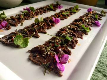 Caribou Carpaccio with Qunguliit/Dwarf Fireweed