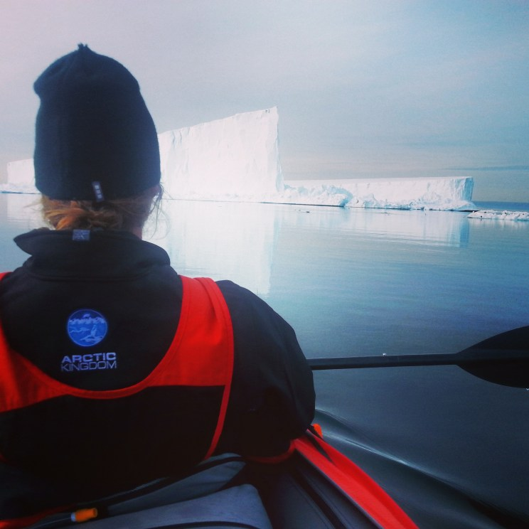 Kayaking up close with icebergs