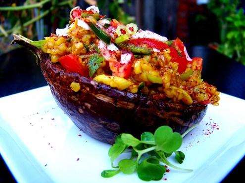Roasted Eggplant and Bulgur Pilaf