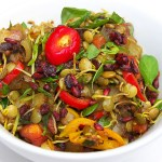 Bengal Lentils with Pea Shoots and Wild Pomegranate